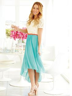 Dress with lace top, turquoise skirt, and brown belt. Even hem instead of high-low. And NOT those shoes!