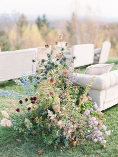 Go inside this classic, preppy wedding at a summer camp in upstate New York. Guests sat in cozy couches during the mountaintop ceremony. Romantic Wedding Receptions, Wedding Ceremony Flowers, Ceremony Arch, Romantic Weddings, Elegant Wedding, Floral Wedding, Wedding Ceremonies, Wedding Vintage, Destination Weddings