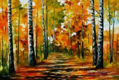 Leonid Afremov Fiesta Of Birches oil painting reproductions for sale