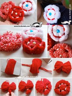 Flowers from yarn - Simple Craft Ideas Yarn Crafts For Kids, Hobbies And Crafts, Crafts To Make, Easy Crafts, Christmas Tree Yarn, Christmas Crafts, Christmas Origami, Doll Crafts, Sewing Crafts