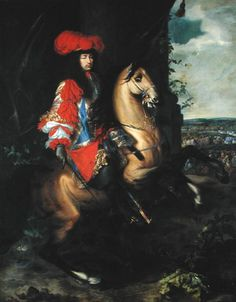 """""""Equestrian portrait of Louis XIV of France"""" (Charles Le Brun, date unknown, oil on canvas). In the  Musée des Beaux-Arts, Tournai, Belgium."""