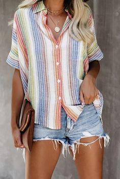 A Lapel Short Sleeve Coloring Striped Blouse #Blouses