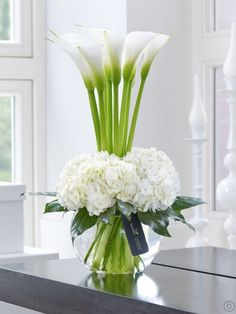 Featuring white snowball hydrangea and white avalanche calla lilies with aralia leaves and lily grass, expertly arranged in a swirl glass globe and finished with luxury gold and black gift wrapping for maximum impact when your gift is delivered by Flowers.ie. Order Flowers Ireland