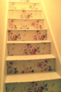 Country cottage floral wallpaper on stairs shabby chic by Tea At The Table