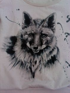 Gel roller painted sweatshirt. Fox.