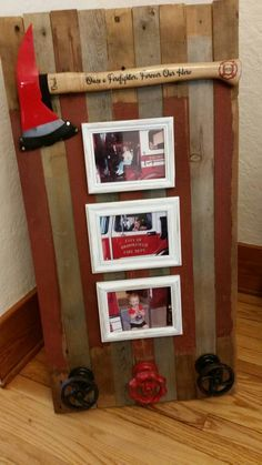 Customer made this for her dad's retirement incorporating our medium size personalized axe. Father's Day gift ideas, firefighter fathers' day, firefighter gifts, father's day gifts, dad and grads. Firefighter Room, Firefighter Home Decor, Firefighter Wedding, Volunteer Firefighter, Firefighter Quotes, Female Firefighter, Fire Dept, Fire Department, Making Ideas