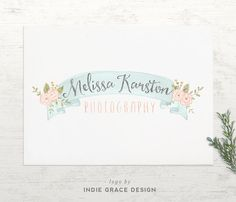 Logo design Watercolor Floral Calligraphy premade by IndieGrace