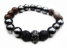 BoyBeads-Handmade Natural Stone Bead Bracelets | Boybeads Hematite + Wood + Gray Crystal Skull bead bracelet