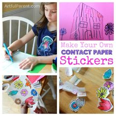 Make your own stickers with contact paper and permanent markers. Note to self, cover the table, secure child, the give permanent markers a try.