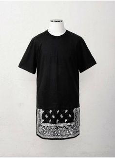 Mens Long Extended Bandana Paisley Print Relaxed Fit Shirt at Fabrixquare