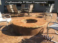 Stamped concrete fire pit built by DW Elite Decks in Olathe, Kansas.