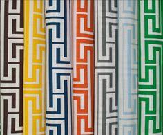 Love the Greek key fabrics from @Tobi Fairley. Classic pattern, & I miss my earring of same design.