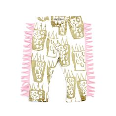 Limited Edition Fringed 'Tiger Paw' Leggings in Gold on White by thiefandbanditkids on Etsy https://www.etsy.com/listing/190974899/limited-edition-fringed-tiger-paw