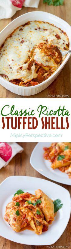 Cozy Classic Ricotta Stuffed Shells | ASpicyPerspective.com