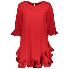 Mini Ruffles Pleated Flare Sleeve Dress (30,260 KRW) ❤ liked on Polyvore featuring dresses