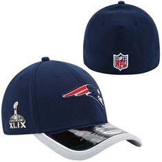 Mens New England Patriots New Era Navy Blue Super Bowl XLIX Bound 39THIRTY  On-Field 0982bef6b38b3