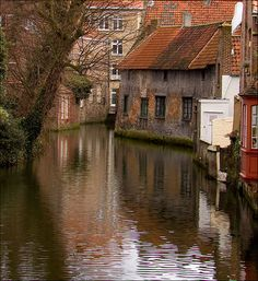 Bruges, Belgium.  I met some gypsy artists from Bruges who came to Oregon in a bus and stayed too long.  Fascinating people.