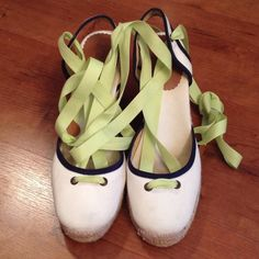 """Host Pick 8/8J. Crew Espadrilles Adorable J. Crew espadrilles in white accented in lime green and navy. Jute around all sides. 4"""" heels. Non-slip sole. Tie-up ribbons are tipped in leather. Perfect summer shoe with a sundress or capris! Host Pick in the Weekend Warriors Party! J. Crew Shoes Espadrilles"""
