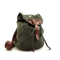 Woodland Pallette Backpack / Purs in Forest Green Canvas and Dark Autumn Brown Leather  From RabbitHouseVintage on etsy.com