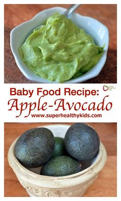 of a peeled and pitted avocado. Mash the avocado. Mix mashed avocado with applesauce and serve. Avocado Baby Food, Healthy Baby Food, Avocado Baby Puree, Avacado For Baby, Mashed Avocado, Healthy Kids, Pureed Food Recipes, Baby Food Recipes, Baby Bullet Recipes