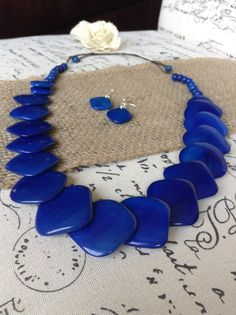 Royal Blue Statement Necklace Tagua necklace by GalapagosTagua