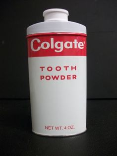 ANTIQUE VINTAGE RED WHITE COLGATE TOOTH POWDER TIN 4 OZ