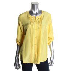 HUGO BOSS Womens Silk Pintuck Blouse