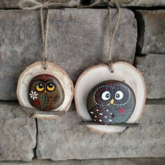 Painted rocks make the cutest owls! Mounted on a wood slice they make the cutest ornaments.