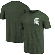 Michigan State Spartans Fanatics Branded Left Chest Distressed Logo Tri-Blend T-Shirt - Green - $24.99