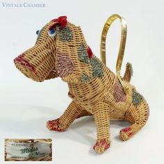 Vtg-50s-MIDAS-OF-MIAMI-Wicker-Figural-Lady-Beagle-Dog-Purse-Pink-Glitter-Handbag