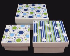 Trio de Caixas Saturno Decoupage, Decorative Boxes, Scrap, Ideas, Crafts, Home Decor, Painted Wooden Boxes, Decorated Boxes, Box Picture Frames