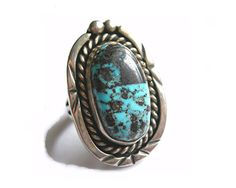 Turquoise Ring Sterling Silver Navajo Blue by AtticDustAntiques