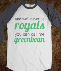 "Royals/Greenbean Nash Grier Tee. But shouldn't it be ""green beanS""?"