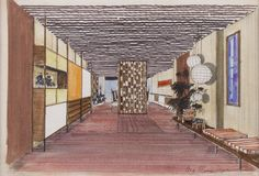 "Mario Pani, ""Modernist Interior Rendering: Corridor."""