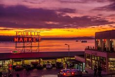 Pike Place Market at Sunset with Puget Sound backdrop
