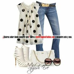 Different dot patterns & jean & shoes...