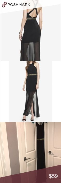 Express Crisscross Back Sheer Skirt Maxi Express Crisscross Back Sheer Skirt Maxi Dress, size 4. The crisscross back, sheer skirt, & metallic gold belt on this dress make it a standout. Pair with heels, a clutch, and simple jewelry for any night out. Express Dresses Maxi