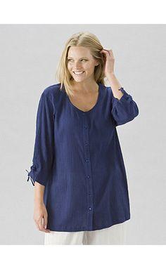 9e6aae6c8e751 Tropi-cool Round Neck Cotton Gauze Tunic. Tunic BlouseTunic TopsPlus size  clothingPlus ...