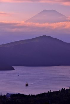 Mt. Fuji sunset view over the Lake Ashino-ko, Japan