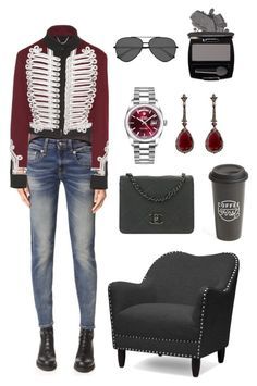 """""""Dark gray & bordeaux"""" by inikisha on Polyvore featuring мода, R13, Burberry, Chanel, Rolex, Annoushka, Yves Saint Laurent, Avon, Baxton Studio и The Created Co."""