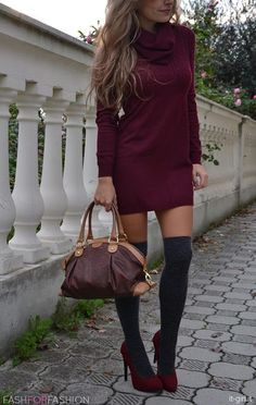 burgundy sweater dress + knee highs
