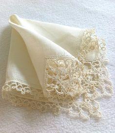 Definitely want one for my wedding :) Handkerchief Vintage Tatting Ecru Wedding by LollysCubbyhole, $16.00