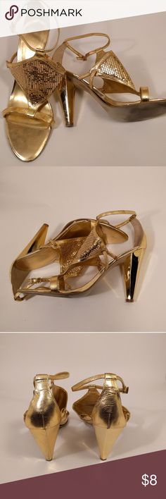 Nine West Gold Sequin Sandals Sz 8.5 A pair of Nine West gold sequined sandals. Worn only twice because they were so uncomfortable. Minor scuffs on the heel and sole slightly lifting... See pictures 1 and 2 for details on the sole. Nine West Shoes Heels