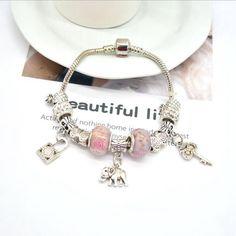 LOt Bangles Bracelets S925 Silver Bracelet Female Sweet Style Round Strawberry Crystal Bracelet Temperament Crystal