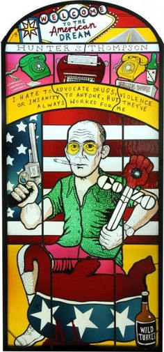 Hunter S Thompson Stained Glass Window