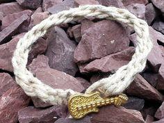 Friendship Bracelet, Hemp Bracelet With Guitar Button, Handmade Braided Bracelet, Gold Guitar Button Hemp Jewelry, Natual Hemp Bracelet. by Candmjewelrydesigns on Etsy