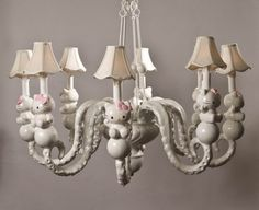 A diff. angle shot of the white hello kitty / tentacle chandelier