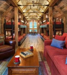 Bunk House with Rustic Interiors Bunk House. This place is perfect for extended family and friends. Cool Bunk Beds, Bunk Beds With Stairs, Kids Bunk Beds, Cabin Bunk Beds, Loft Beds, Rustic Bunk Beds, Rustic Bedrooms, Rustic Lake Houses, Haus Am See