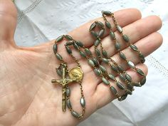 Vintage French grey MOP rosary French chapelet by LaCroixRosion