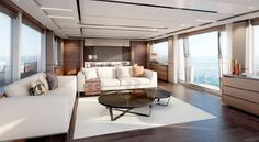 Living room with a view on board the 2016 Princess American Edition 30 M Class.